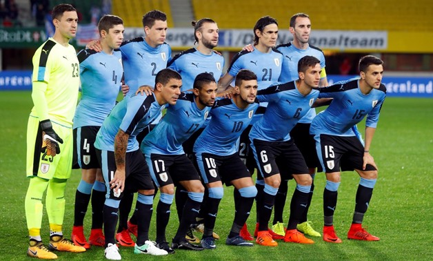 Soccer Football - International Friendly - Austria vs Uruguay - Ernst-Happel-Stadion, Vienna, Austria - November 14, 2017 Uruguay pose for a team group photo before the match REUTERS/Leonhard Foeger