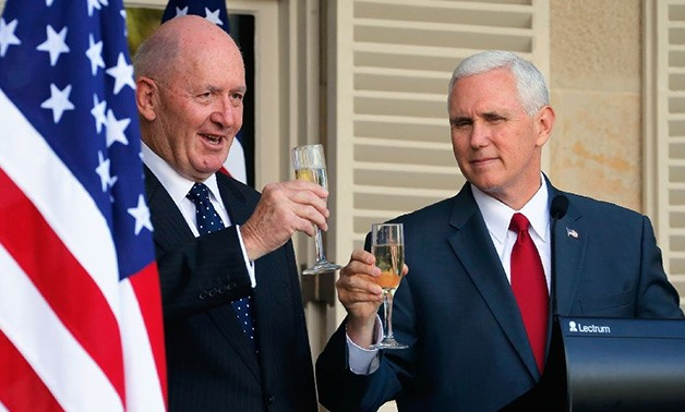 US Vice President Mike Pence (R) and Australia's Governor General Peter Cosgrove in Sydney - AFP