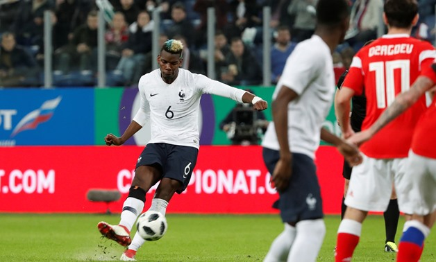 Soccer Football - International Friendly - Russia vs France - Saint-Petersburg Stadium, Saint Petersburg, Russia - March 27, 2018 France's Paul Pogba scores their second goal from a free kick REUTERS/Grigory Dukor