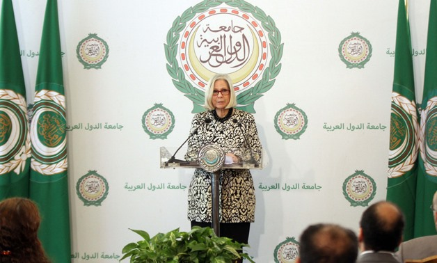 Special Representative to Civil Society for the League of Arab States Secretary General Haifa Abu Ghazaleh at a press conference at the Arab League headquarters in Cairo on the Egyptian 2018 presidential election- Egypt Today/Ahmed Maarouf
