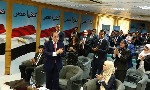 President Abdel Fatah al-Sisi at his campaign HQ after he was announced the winner of the 2018 presidential election on April 2, 2018 - Press photo