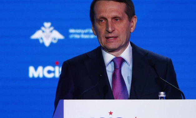 Sergey Naryshkin, the head of Russia's foreign intelligence agency delivers a speech in Moscow April 4, 2018. REUTERS/Sergei Karpukhin