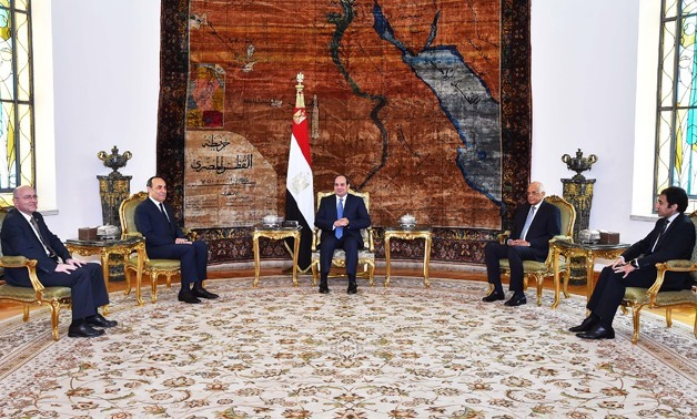 President Sisi meets (C) with Speaker of the Moroccan House of Representatives Al-Habib Al-Malki (the second from left)- press photo