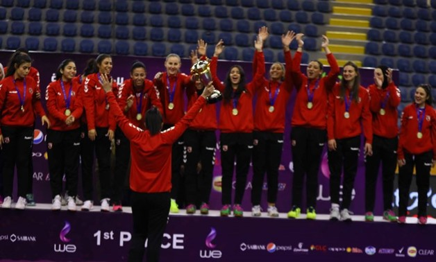 FILE - Al-Ahly's women volleyball team