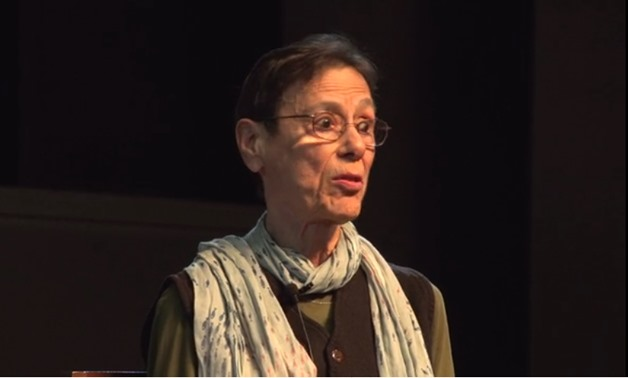 Screencap from a discussion panel for Privilege featuring director Yvonne Rainer, April 9, 2018 – Vimeo/Carsey-Wolf Center