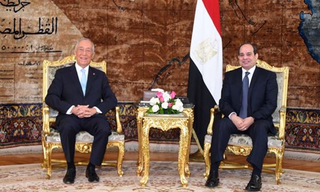 President sabdel Fatah al-Sisi (R) and his Portuguese counterpart De Sousa in the presidential palace in Cairo- press photo