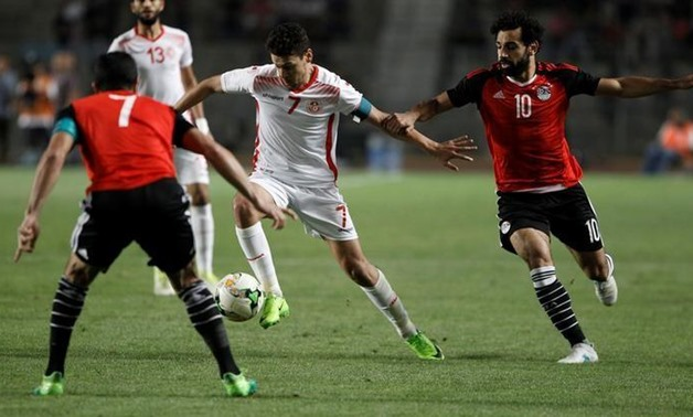 Youssef Msakni (C) of Tunisia in action. REUTERS/Zoubeir Souissi
