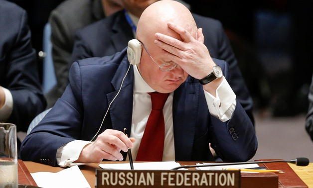 Russian Ambassador to the United Nations Vasily Nebenzya attends the emergency United Nations Security Council meeting on Syria at the U.N. headquarters in New York, U.S., April 14, 2018. REUTERS/Eduardo Munoz