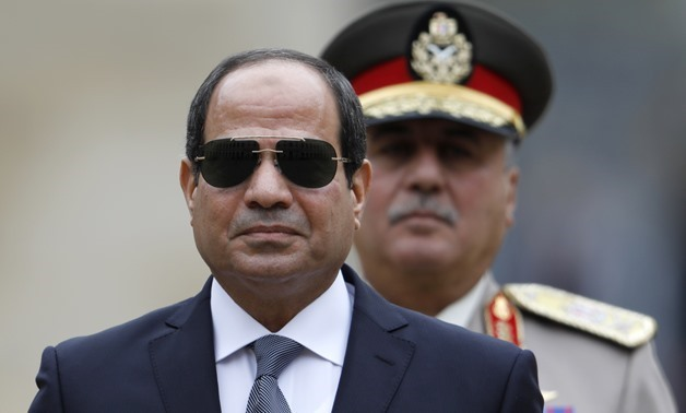 Egyptian President Abdel Fatah al-Sisi attends a military ceremony at the Hotel des Invalides in Paris on October 24, 2017 - AFP/Charles Platiau