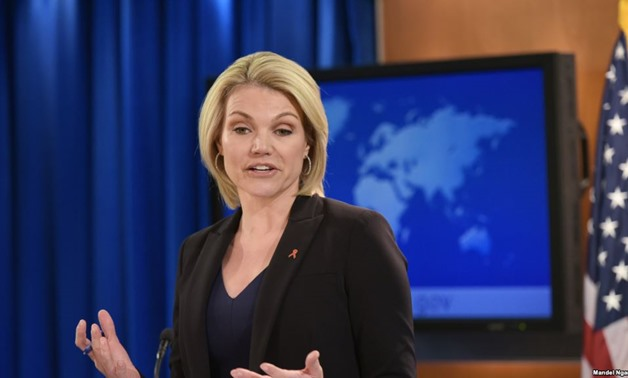 U.S. State Department Spokesperson Heather Nauert speaks during a briefing at the State Department in Washington in this file photo from November 30, 2017.