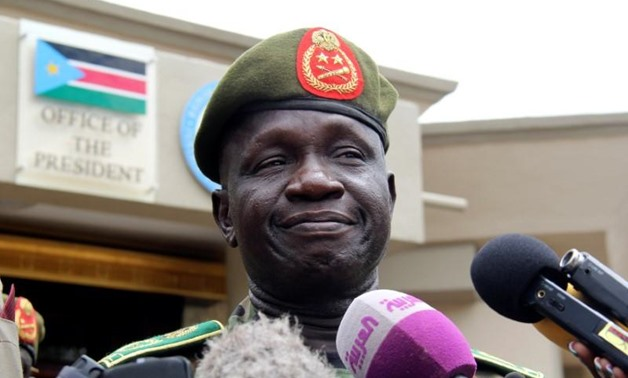 South Sudanese newly appointed army chief General James Ajongo speaks to the media after his swearing in at the Presidential Palace in South Sudan's capital of Juba, May 10, 2017. REUTERS/Stringer