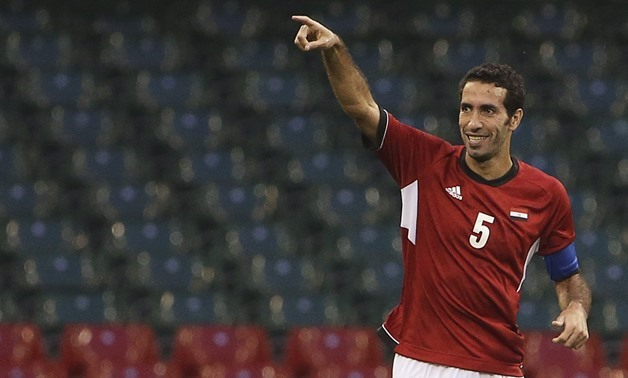 Egypt's captain Mohamed Aboutrika celebrates after scoring against Brazil during their men's Group C football match at the London 2012 Olympic Games in the Millennium Stadium in Cardiff July 26, 2012. REUTERS/Francois Lenoir