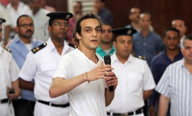 Photojournalist Shawkan Addresses Court May 21, Telling Judge Hassan Farid That He Was Arrested While Doing His Job In Covering The 2013 Police Dispersal Of The Pro-Brotherhood Rabaa Sit-In. Photo By Hassan Mohamed/Youm7.