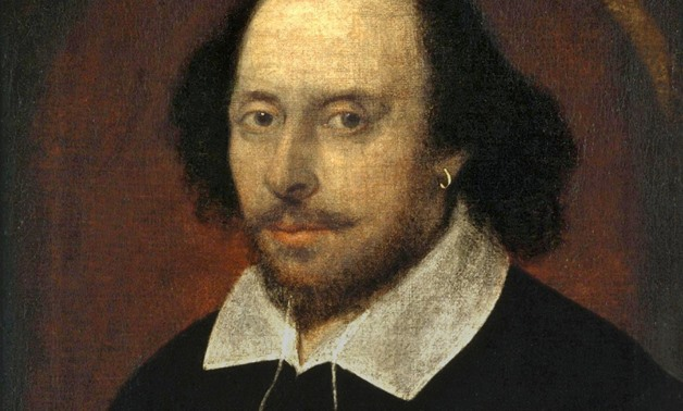 Edited photo of the famous 1610 Chandos Portrait of William Shakespeare, April 23, 2018 – Wikimedia Commons/National Portrait Gallery.