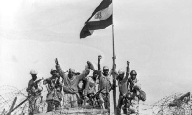 A group of Egyptian soldiers celebrate triumph over Israel in Sinai in 1973 - archive photo