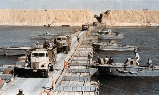 Egyptian vehicles crossing the Suez Canal on October 7, 1973 – Wikimedia