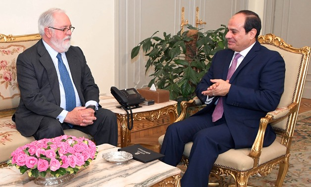 President Abdel Fatah al-Sisi meets with EU Commissioner for Climate Action and Energy Miguel Arias Cañete – Press photo