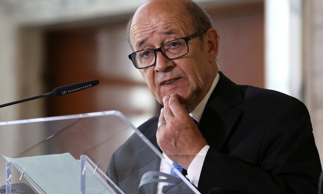 French Foreign Minister Jean-Yves Le Drian speaks during a meeting on migration in Rome, Italy July 6, 2017. REUTERS/Alessandro Bianchi