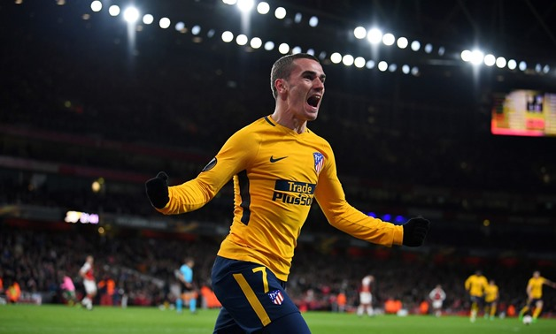 Soccer Football - Europa League Semi Final First Leg - Arsenal vs Atletico Madrid - Emirates Stadium, London, Britain - April 26, 2018 Atletico Madrid's Antoine Griezmann celebrates scoring their first goal REUTERS/Dylan Martinez TPX IMAGES OF THE DAY