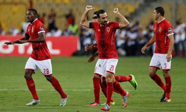 Soccer Football - CAF Champions League - Semi-Final - Al Ahly vs Etoile du Sahel - Borg El Arab Stadium, Borg El Arab, Egypt - October 22, 2017 Al Ahly's Ali Maaloul celebrates scoring their first goal REUTERS/Amr Dalsh
