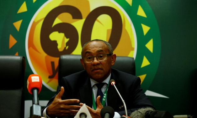 The newly elected Confederation of African Football President Ahmad Ahmad addresses a news conference after his victory at the African Union (AU) headquarters in Ethiopia's capital Addis Ababa, March 16, 2017. REUTERS/Tiksa Negeri