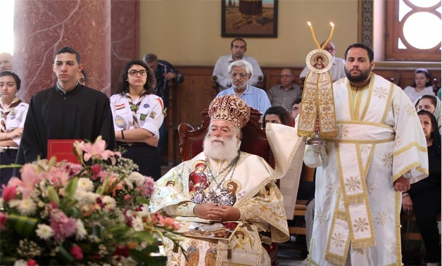 The Patriarch Theodore II of Alexandria heads on Friday the ceremony of St George Feast day at Church of St. George in old Cairo, April 27, 2018 – Egypt Today
