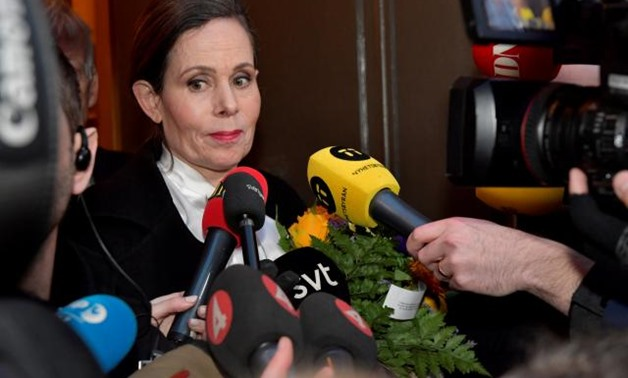 FILE PHOTO: The Swedish Academy's Permanent Secretary Sara Danius talks to the media as she leaves after a meeting at the Swedish Academy in Stockholm, Sweden April 12, 2018. TT News Agency/Jonas Ekstromer/via REUTERS/File Photo.