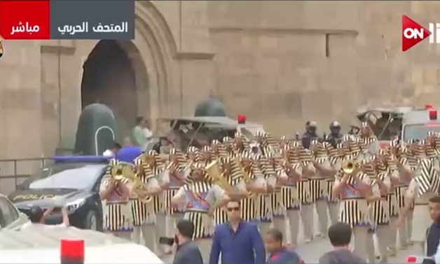 TV Screenshot of the ceremony of moving King Tut's last wheel