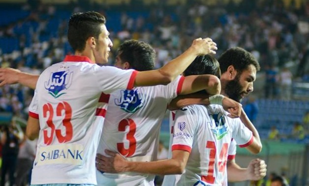 FILE – Zamalek players celebrating  Ayman Hefny's goal in Al-Ahly's net