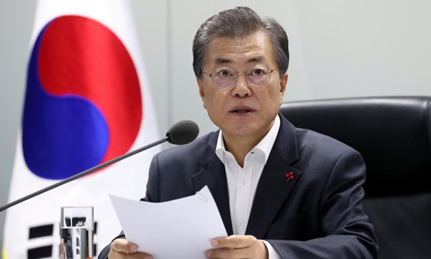South Korean President Moon Jae-in presides over the national security council at the Presidential Blue House in Seoul, South Korea, November 29, 2017.