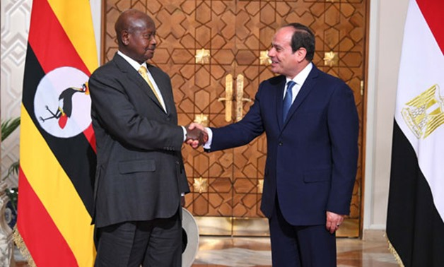 President Abdel Fatah al-Sisi and Ugandan President Yoweri Museveni - Press Photo