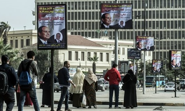 Khaled Desouki, AFP | An election campaign banner erected by supporters of Egyptian President is seen in the capital Cairo on February 26, 2018.