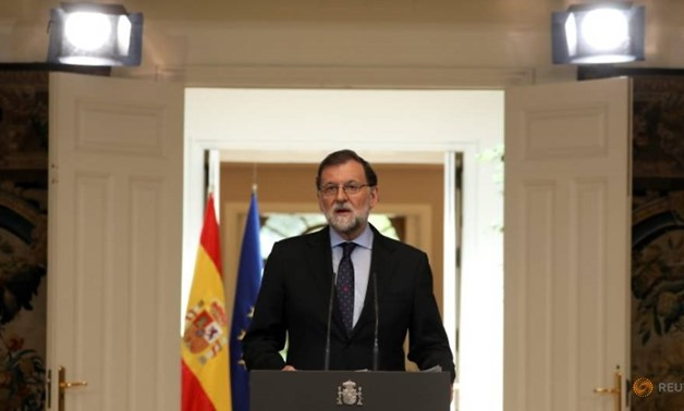 Spain's Prime Minister Mariano Rajoy delivers a speech regarding the dissolution of Basque separatist group ETA at the Moncloa Palace in Madrid, Spain, May 4, 2018. REUTERS/Sergio Perez