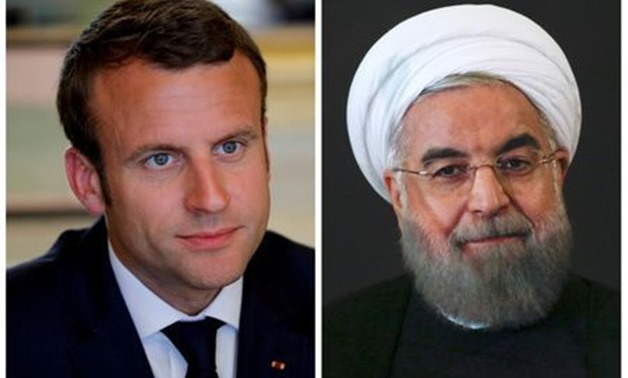 A combination of file photos showing French President Emmanuel Macron attending a meeting at the Elysee Palace in Paris, France, May 23, 2017, and Iran President Hassan Rouhani looking on at the Campidoglio palace in Rome, Italy, January 25, 2016. REUTERS