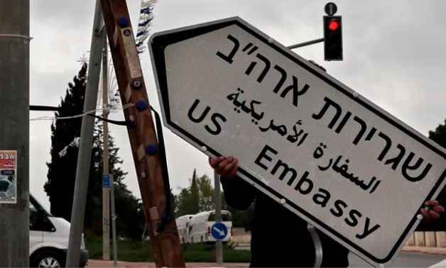 A new road sign indicating the way to the new US embassy in Jerusalem is set up on May 7, 2018. The embassy move from Tel Aviv to Jerusalem is expected to occur on May 14 – AFP PHOTO/THOMAS COEX