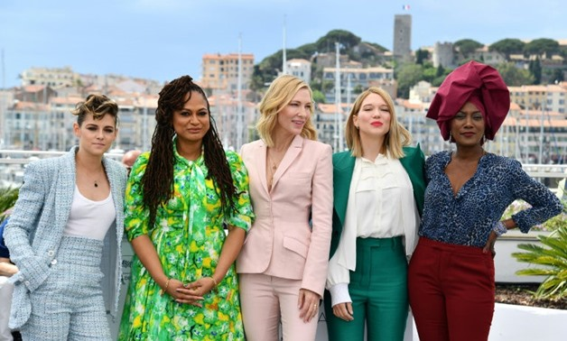 The five women in Cannes' majority-female jury, from left to right: actress Kristen Stewart, director Ava DuVernay, actress and jury president Cate Blanchett, actress Lea Seydoux and singer-songwriter Khadja Nin.