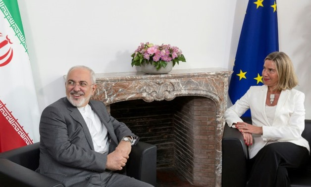 Zarif met with the EU's top diplomat Federica Mogherini to discuss Iran's nuclear deal ahead of talks with his counterparts from Britain, France and Germany
