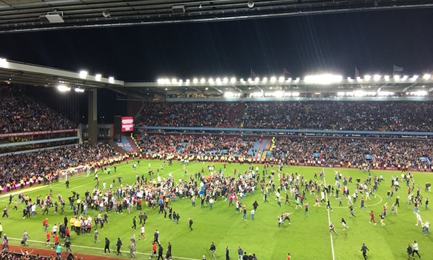 Villa fans celebrate their victory after the game, Photo Courtesy of Villa Twitter Account
