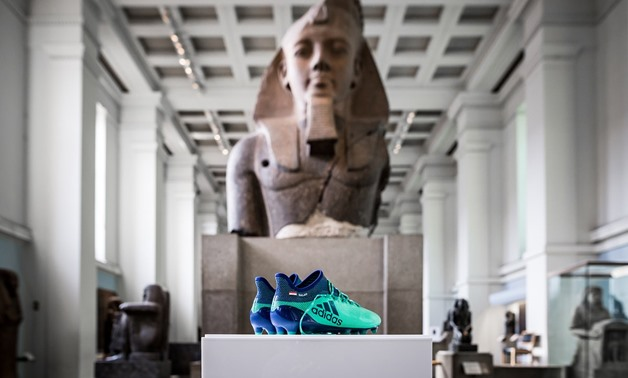 Salah's boots in the British Museum – Courtesy of British Museum official Twitter account