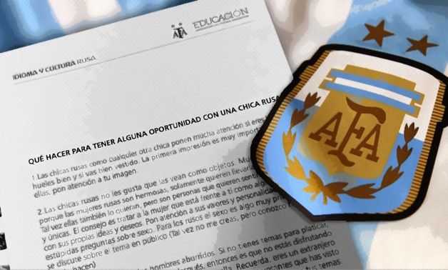 """""""Regrettably, at the time it was printed, there was the inclusion by mistake of a text that was never part of the course,"""" AFA head Alejandro Taraborelli said in a statement – Photo illustrated by Egypt Today/Mohamed Zain"""