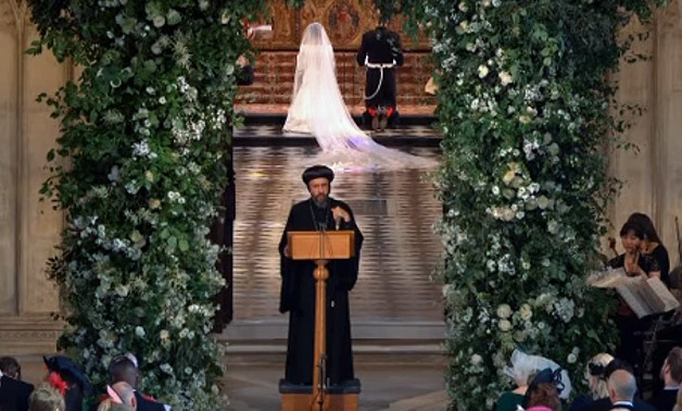 Egypt's Coptic Orthodox Archbishop praying during the Royal wedding service of Prince Harry and Meghan Markle on May 19, 2018 – Still image from the live coverage