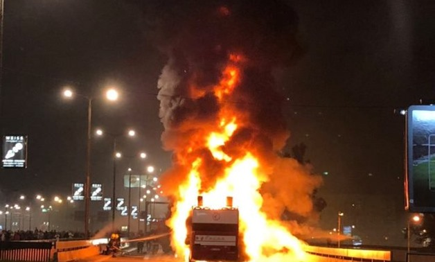 FILE – Red Star Belgrade's bus on fire