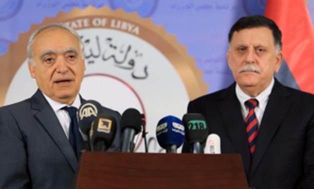 File-SRSG Ghassan Salame and PM of the Government of National Accord of Libya, Fayez al-Sarraj.