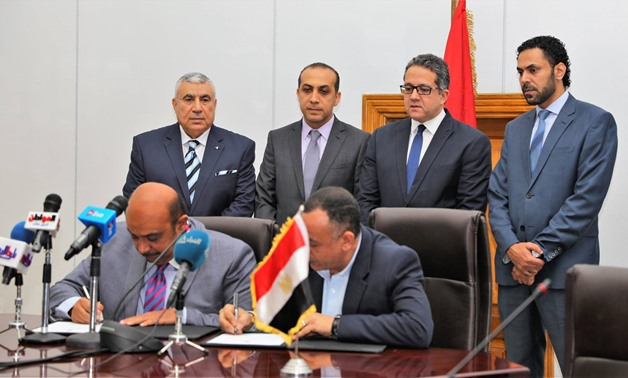 Secretary-General of the Supreme Council of Antiquities Mostafa Waziri and CEO Aga Khan Company Sherif Erian signed the memorandum of understanding to renovate the mosque of Altinbugha al-Maridani – Ministry of Antiquities' official Facebook Page.
