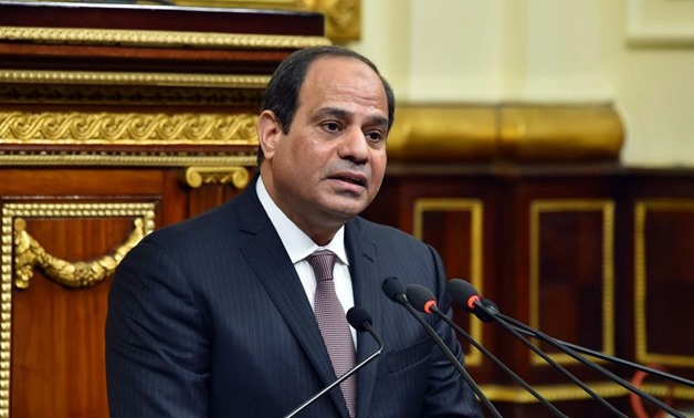 Egypt's President Abdel Fatah al-Sisi delivers a speech before parliament– press photo
