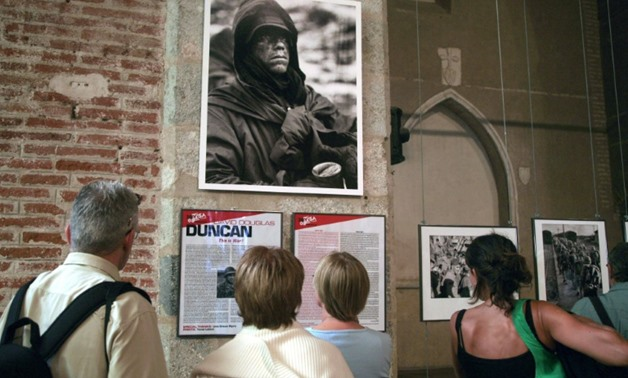 An exihibit of works by David Douglas Duncan at the Visa pour l'Image festival in Perpignan, France, in 2008. Duncan died in France on Thursday aged 102.