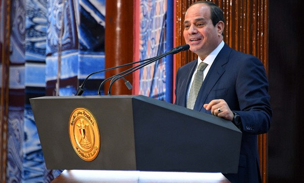 President Sisi attended a ceremony organized by the Awqaf Ministry to mark Lailat al Qadr - press photo/Sherif Abdel Moneim