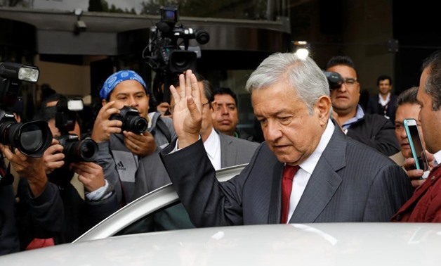 Andres Manuel Lopez Obrador, presidential pre-candidate of the National Regeneration Movement (MORENA), leaves an event during which he unveiled his anti-corruption plan he will put in place if he wins this year's election, in Mexico City, Mexico January