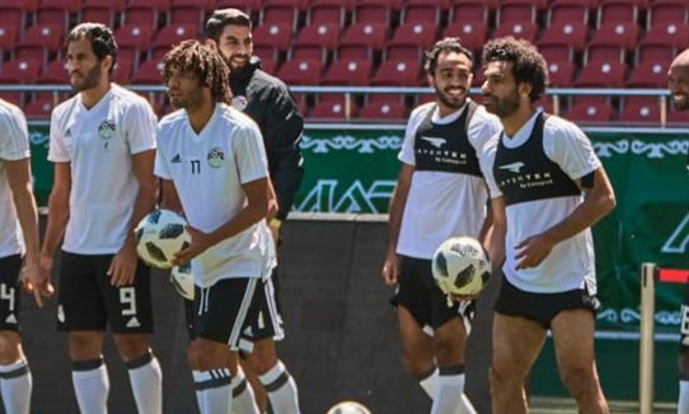 Mohamed Salah during the collective training session – Press image courtesy of the Egyptian national team's official Twitter account