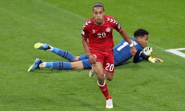 World Cup - Group C - Peru vs Denmark - Mordovia Arena, Saransk, Russia - June 16, 2018 Denmark's Yussuf Poulsen celebrates scoring their first goal REUTERS